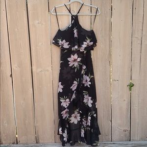 Lulu's floral high low rufffled dress NWT